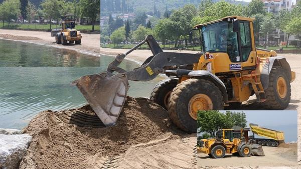 Gölcük ve Karamürsel'de plajlara kum seriliyor...