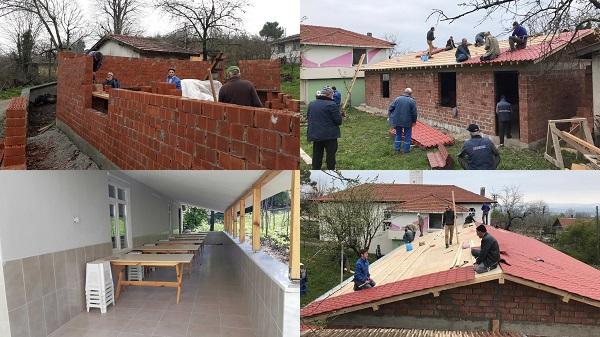 Köylerin Sosyal tesisleri imece usulü inşa ediliyor