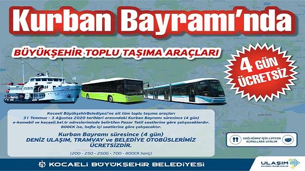 Ulaşım Kocaeli'de bayramda 4 gün boyunca ücretsiz