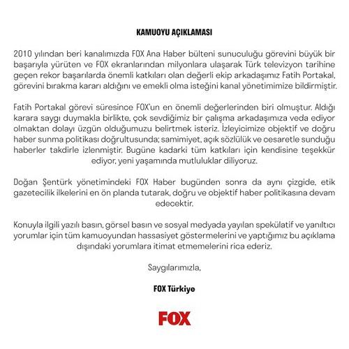 Fox Tv açıklaması