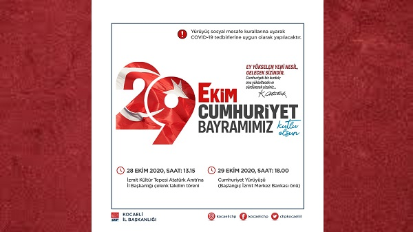 """CHP Kocaeli'den Sosyal Mesafeli """"Cumhuriyet Yürüyüşü"""""""