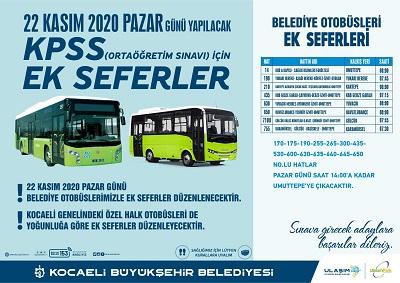 Kocaeli'de hafta sonu için toplu taşımada yeni düzenleme